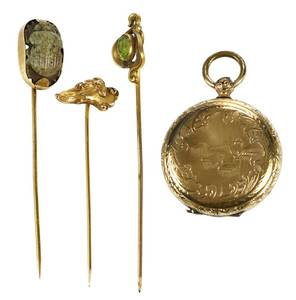 Locket & Three Stick Pins
