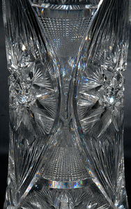 Monumental Brilliant Cut Glass Corset Vase
