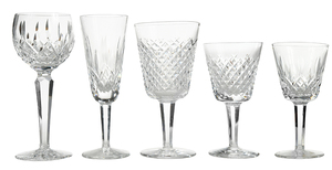 Thirty Pieces Waterford Crystal Stemware