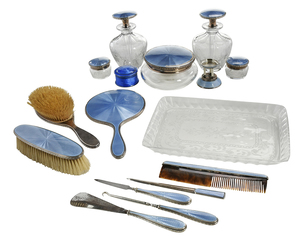 16 Pieces Blue Enamel Sterling Dresser Pieces