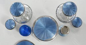 16 Pieces Blue Enamel Sterling Dresser Pieces