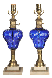 Cobalt Blue Table Lamps Marble Bases