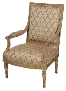 Louis XVI-Style Carved and Gilt Wood Arm Chair