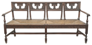 Neoclassical Carved Walnut and Rush Seat Bench