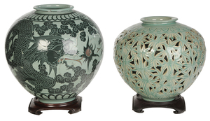 Two Large Celadon Korean Pots