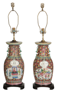 Pair Chinese Vases Converted to Lamps
