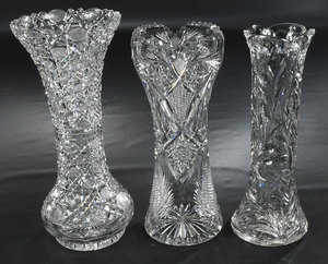 Brilliant Period Cut Glass Tall Vases