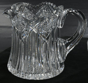 Brilliant Period Cut Glass Cider Pitcher, Jar