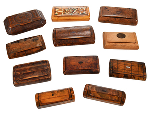 11 Miniature Carved Wood Boxes