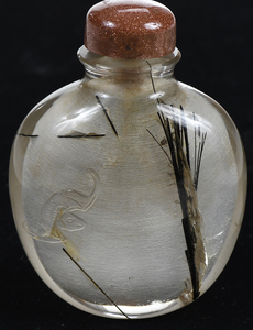 Finely Carved Hair Crystal Snuff Bottle