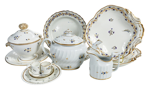11 Pieces Derby Floral Sprig Porcelain