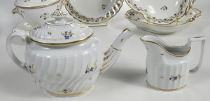 11 Pieces Derby Floral Sprig Porcelain