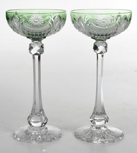 Pair Brilliant Period Cut Glass Chalices