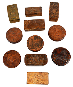 11 Continental Pressed Wood Snuff Boxes