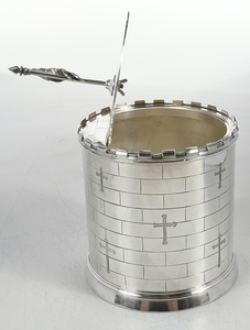 Silver-Plate Castle Form Biscuit Box