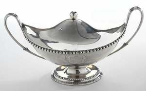 Large English Silver Covered Urn