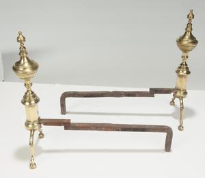 Pair American Brass Steeple Top Andirons