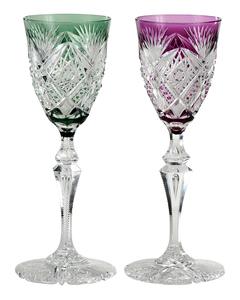 Two Brilliant Period Cut Glass Tall Wines