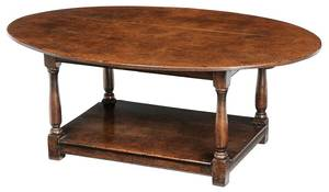 William & Mary Style Oak Oval Low Table