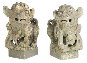 Pair of Cement Foo Lion Sculptures