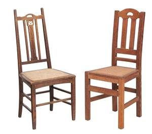 Two Arts and Crafts Oak Side Chairs