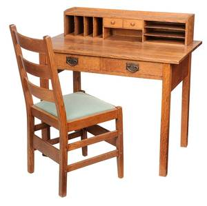 Gustav Stickley Arts and Crafts Desk and Chair