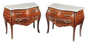 Pair of Louis XV Style Marble Top Bombe Commodes