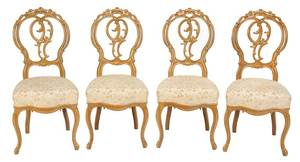 Set Four French Carved Walnut Side Chairs