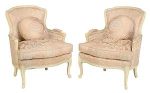 Pair of Louis XV Style Paint Decorated Bergeres