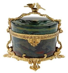 Gilt Bronze and Faux Agate Dresser Box