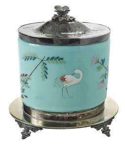 Bristol Glass Silver Plated Biscuit Barrel