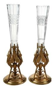 Pair Gilt Bronze and Cut Glass Stork Vases