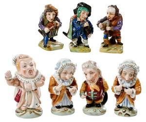 Seven Handpainted Porcelain Dwarf Figures