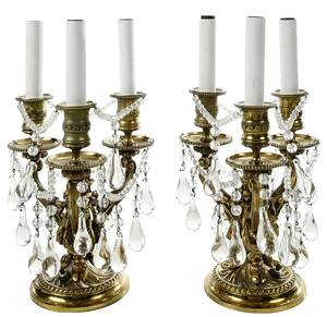 Pair Louis XVI Style Bronzet Table Lamps