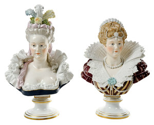 Pair Meissen Painted Porcelain Busts