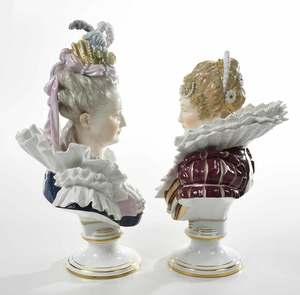 Pair Meissen Painted Porcelain Busts