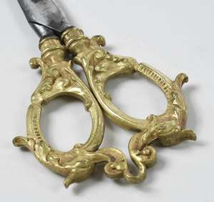 Gilt Bronze and Glass Inkwell with Scissors