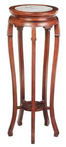Chinese Hardwood and Marble Inset Urn Stand