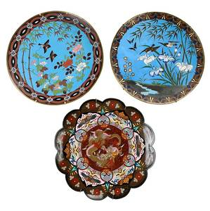 Three Japanese Cloisonne Chargers