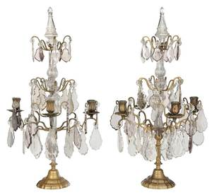 Pair of French Three Tiered Crystal Candelabra