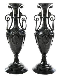 Pair Grand Tour Patinated Bronze Vases
