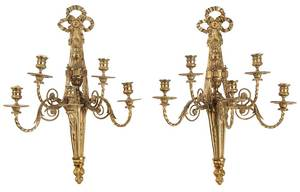 Pair Neoclassical Style Five Light Sconces