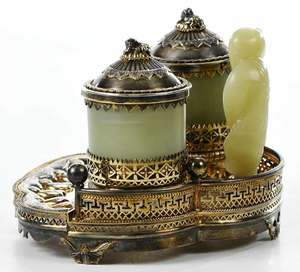 Chinese Gilt Metal and Hardstone Condiment Set