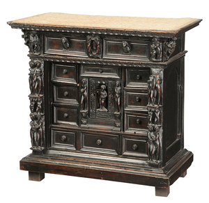 Antique Renaissance Style Carved Walnut Cabinet