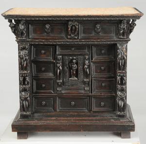 Antique Renaissance Style Carved Walnut Cabinet