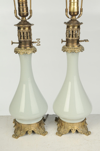 Pair Pate sur Pate Celadon Porcelain Lamps
