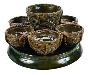 Majolica Basket Form Centerpiece