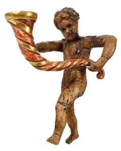 Wooden Angel Figure With Cornucopia
