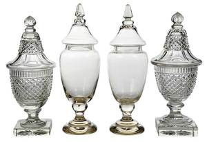 Two Pair Crystal Cut Lidded Urns