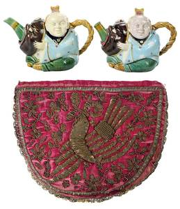 Pair Majolica Figural Teapots and Cozy